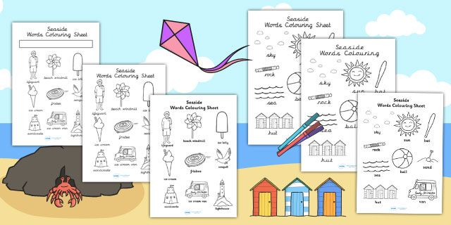 Twinkl Farm Animal Colouring Pages : The seaside differentiated words colouring sheets