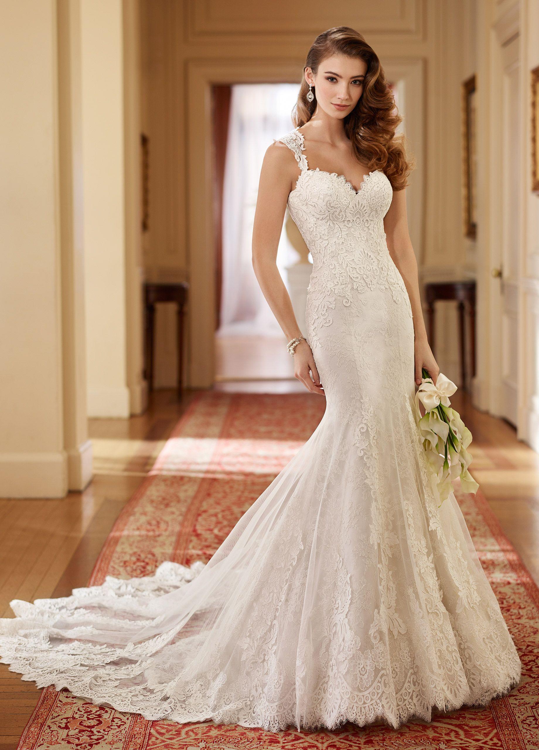 Queen Anne Neckline Fit & Flare Lace Wedding Dress- 217221 Helen ...