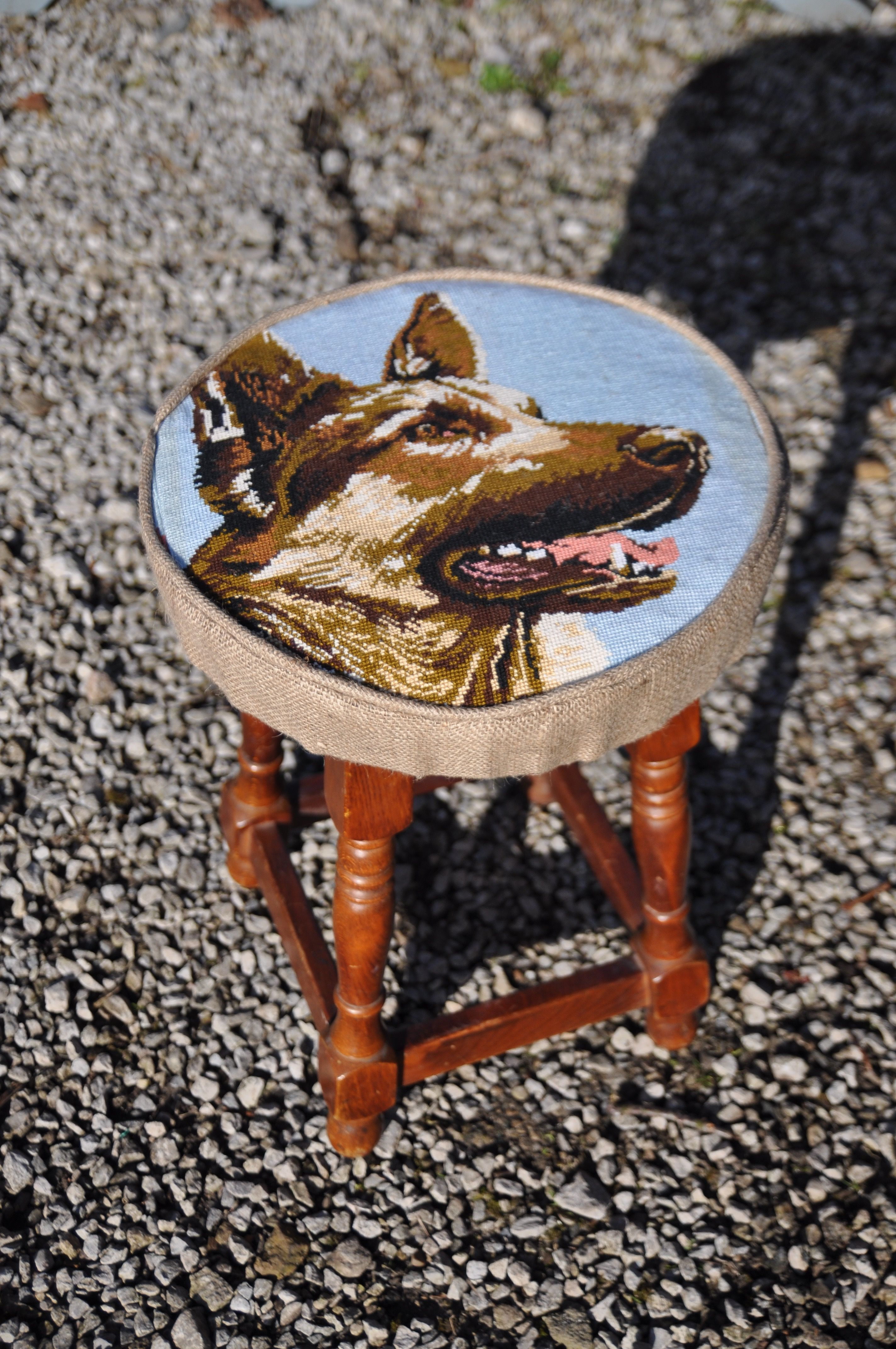 Made with French vintage cotton needlepoint on an old pub stool