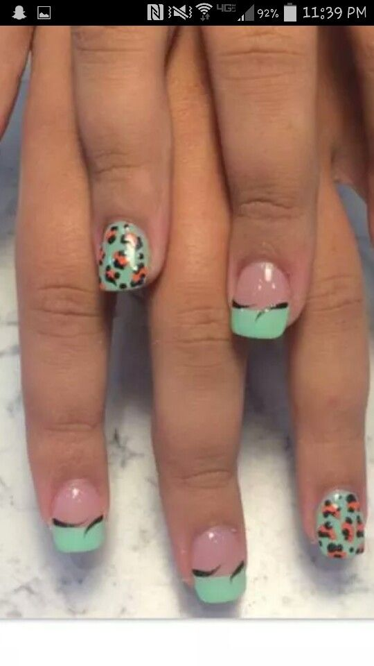 Seafoam green and pink leopard