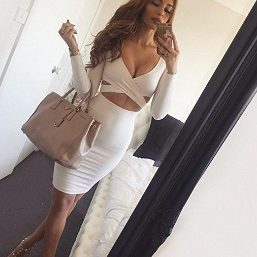 Image result for Memorose Womens Sexy Long Sleeve Cut-Out Bandage Bodycon Clubwear Midi Dress