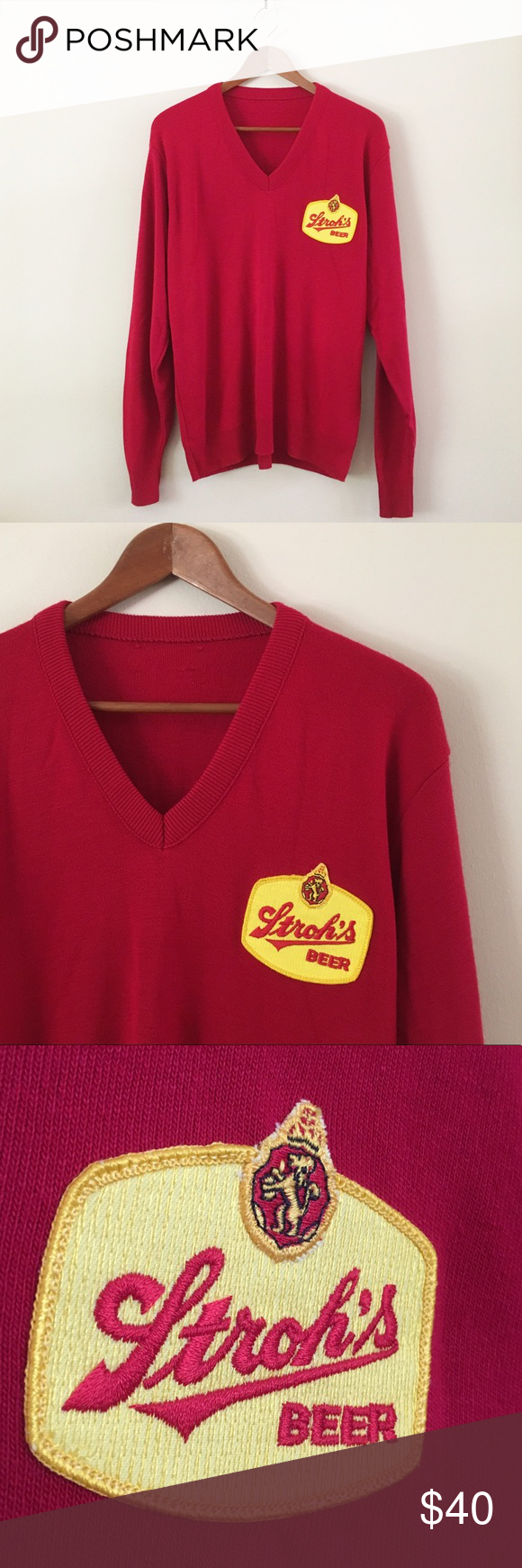 80s / Stroh's Beer Sweater | Red sweaters