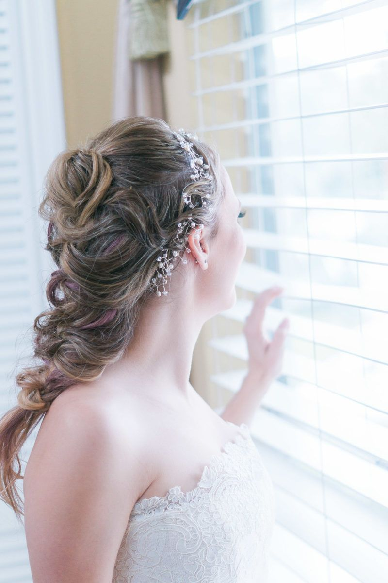 bridal braid for disney inspired paradise cove wedding in