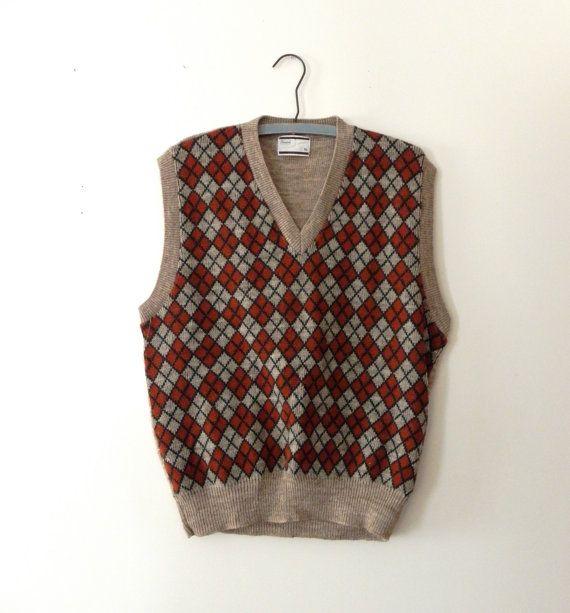 Vintage Argyle Knit Sweater Vest for Men | Classy
