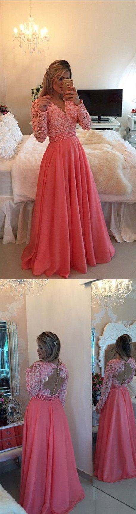 Coral prom dressball gown prom dresswhite lace prom gownbackless