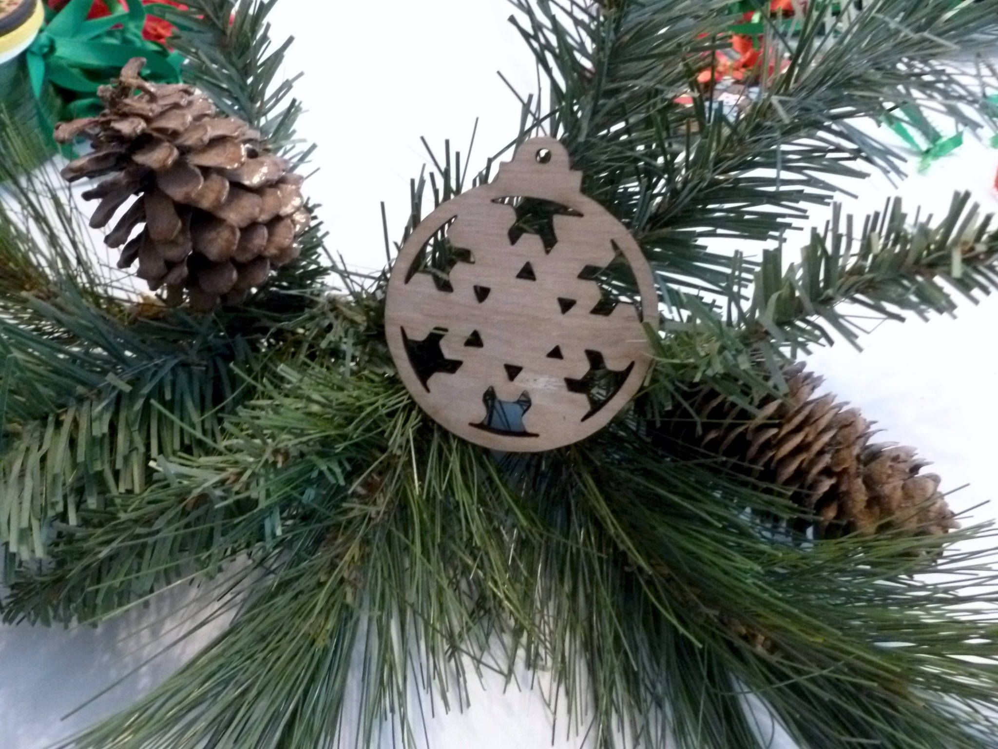 Handmade Christmas tree wood ornament. This Xmas tree ornament is ready for your touch stain, varnish paint or glitter them 3 X 2 1/2 inches by ShelbyLaser on Etsy