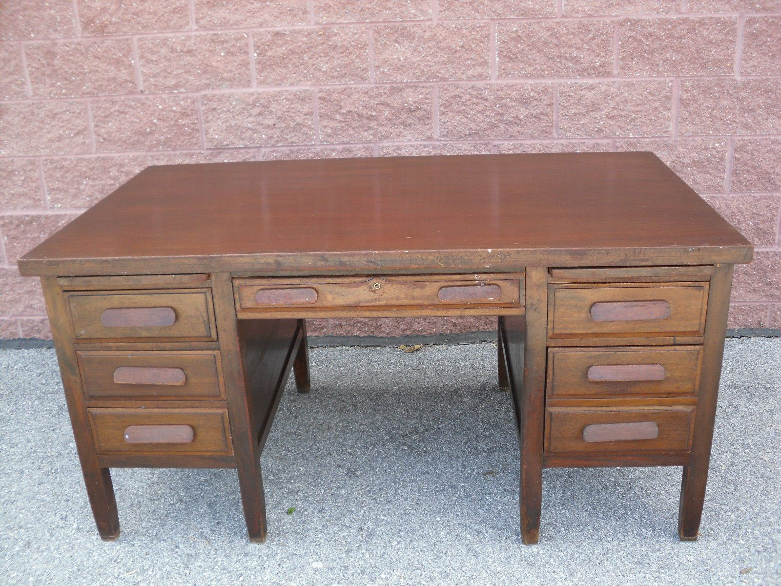 office furniture desk vintage chocolate varnished. antique mahogany bankers lawyers executive desk 60 x 34 6 drawer office furniture vintage chocolate varnished t