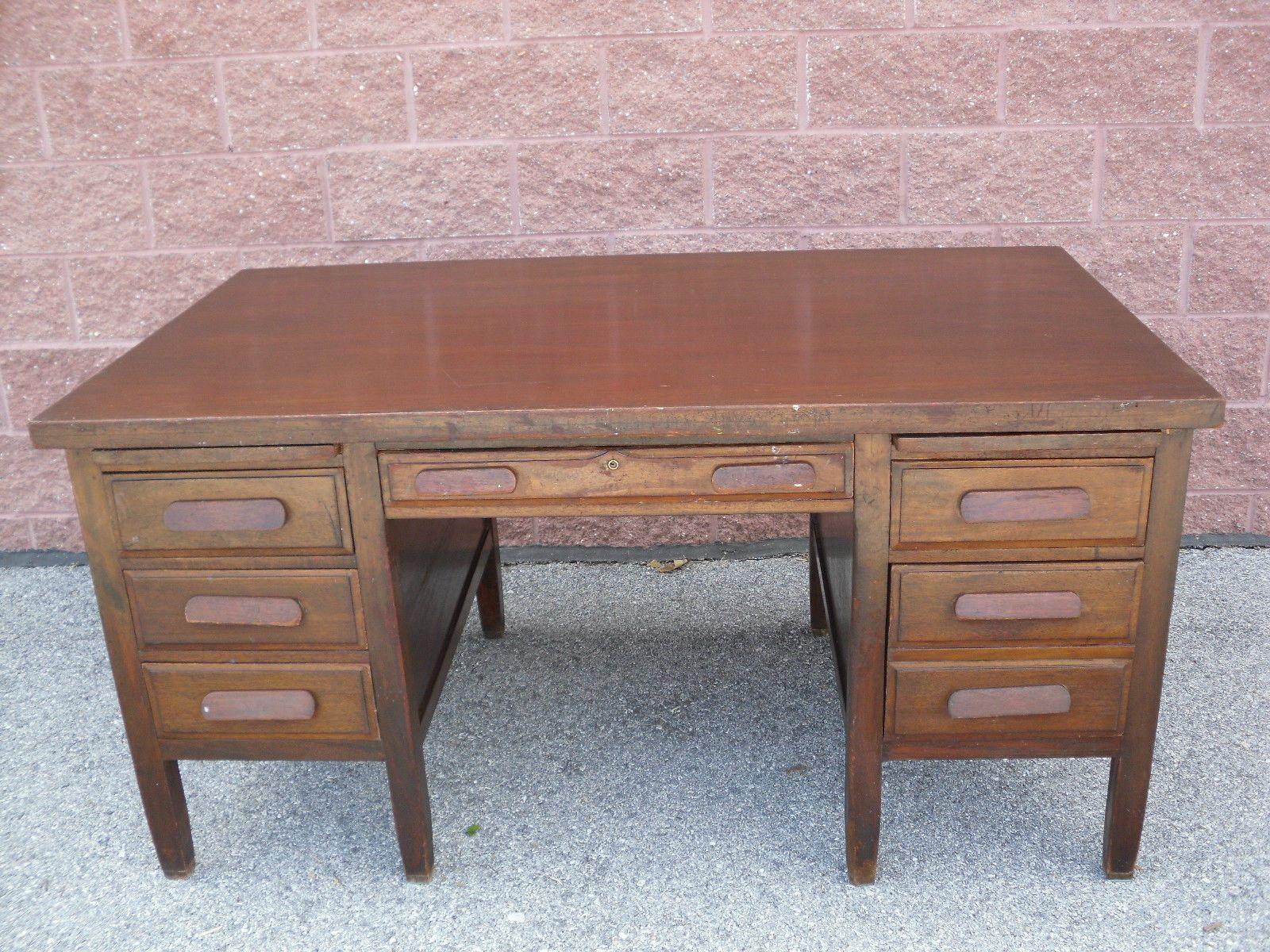 Antique 1930 39 s mahogany bankers lawyers executive desk 60 x 34 6 drawer desk ebay office - Antique office desk ...