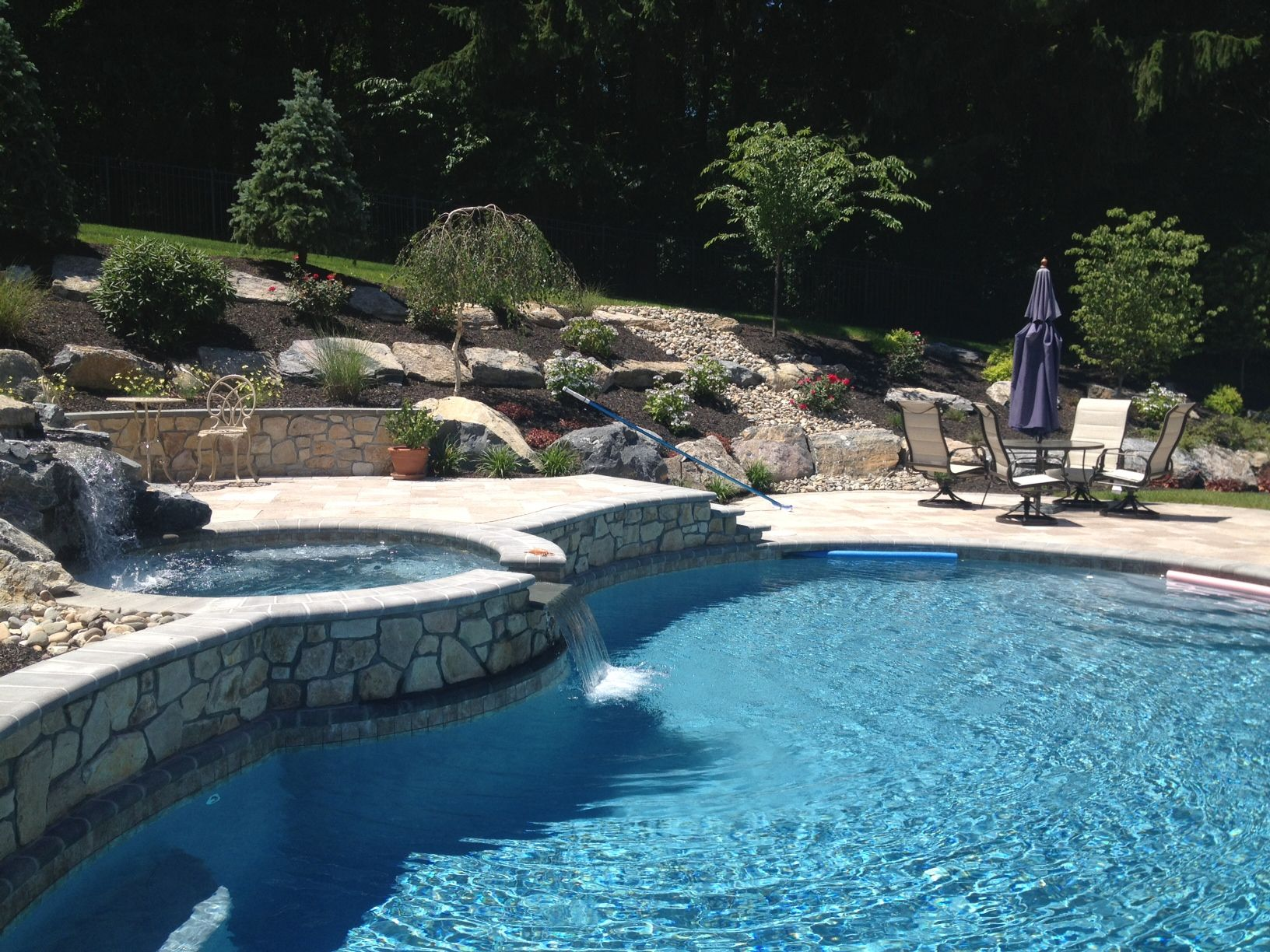 pool raised deck firepit | – This pool here in Doylestown, PA ...