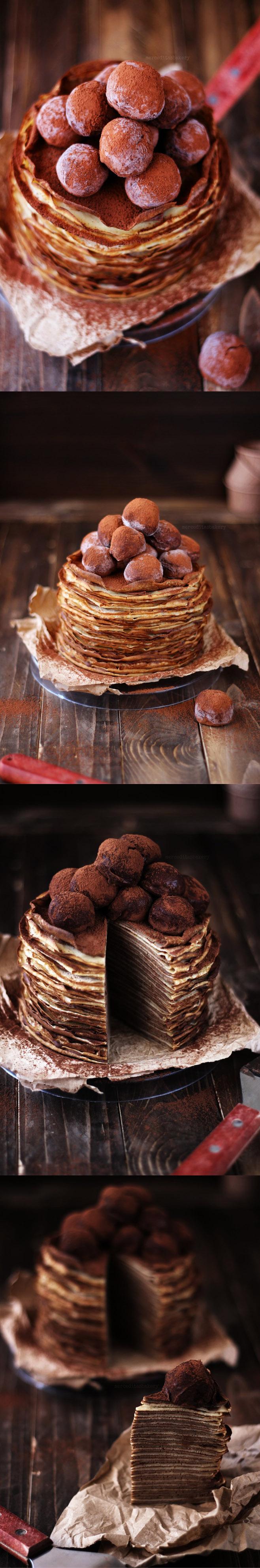 Tarta de crepes de café y Baileys / http://merceditasbakery.blogspot.com.es/