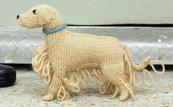 вязаная спицами игрушка собака золотистый ретривер описание