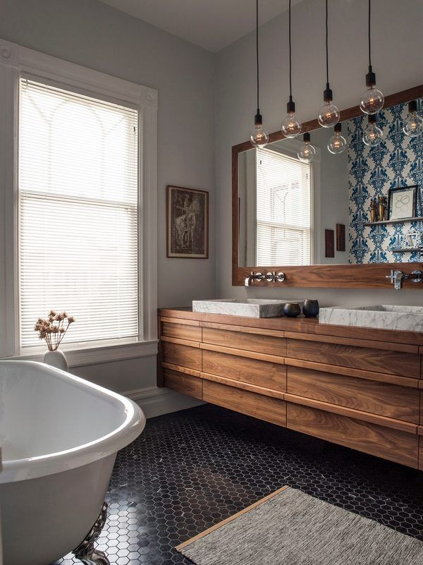 Awesome Floating Vanity Double Design Vessel Sinks Pendant Lamps Clawfoot Tub