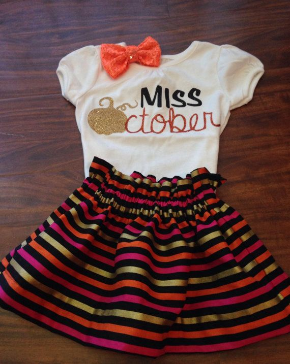 Miss October Shirt Fall Birthday Halloween Girl 1st First 2nd 3rd More