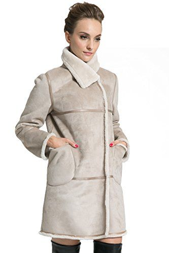 Ovonzo Women's Winter Style Soft Faux Suede Leather Pea Coat Hip Length Beige Size S   #FreedomOfArt  Join us, SUBMIT your Arts and start your Arts Store   https://playthemove.com/SignUp