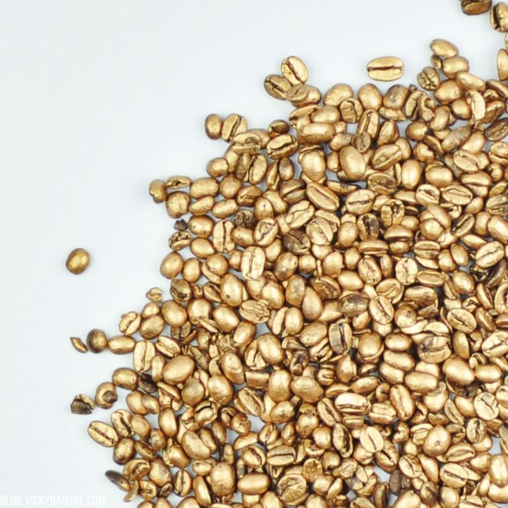 Diy Gold Coffee Beans Metallic Gold Spray Painting And
