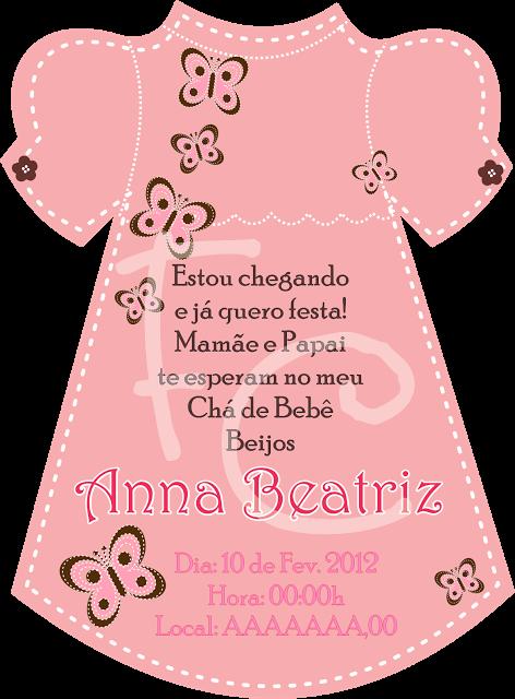 Convite Cha De Bebe Formato Vestido Festas Cha De Bebê