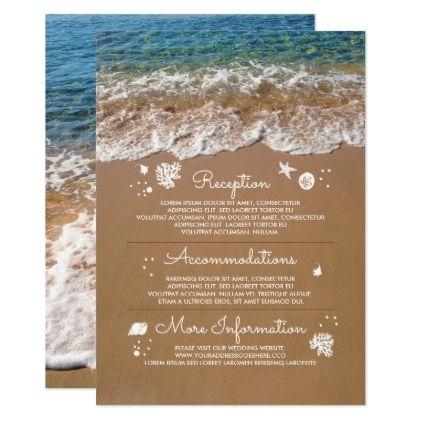 #Blue Sea Waves and Sand Beach Wedding Information Card - #beach #wedding #invitations #weddinginvitations #card #cards #celebration #beautiful #summer #summerwedding #savethedate #island #heat #love