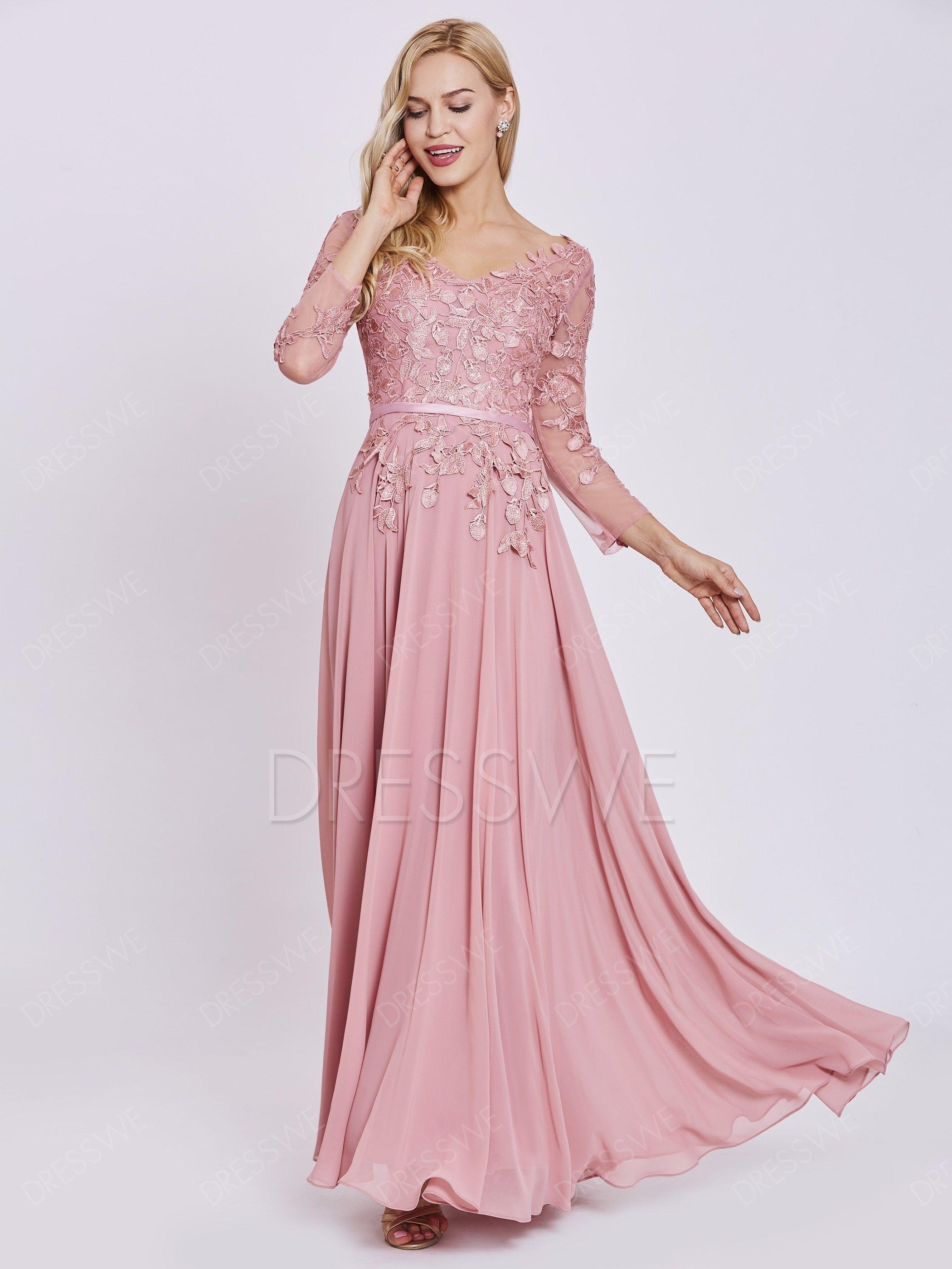 A line v neck long sleeves hot evening dress dresses pinterest