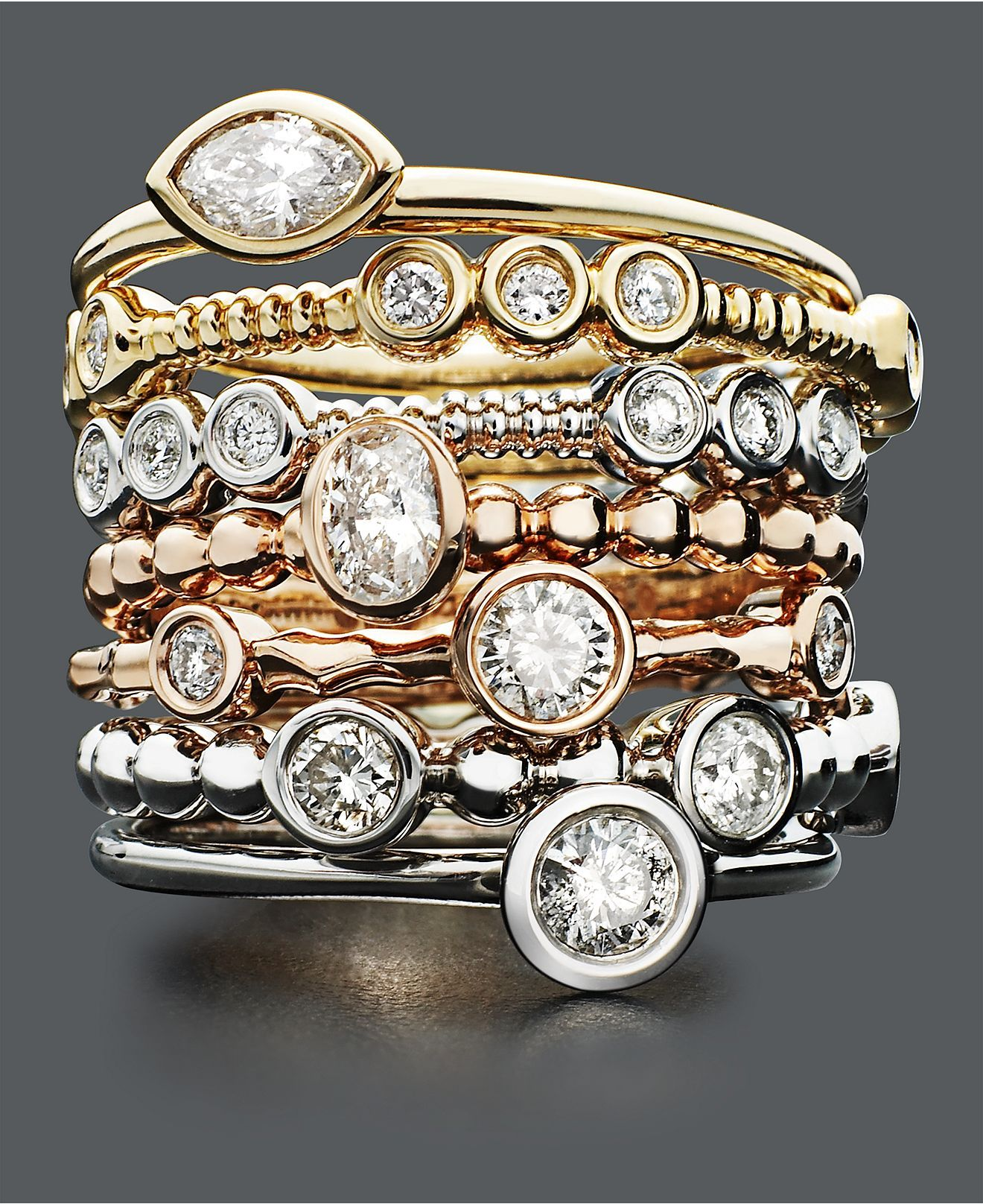 These Gold Diamond Stackable Rings From Macy S Have Sold Out But Similar Stacking Ec One And Pandora