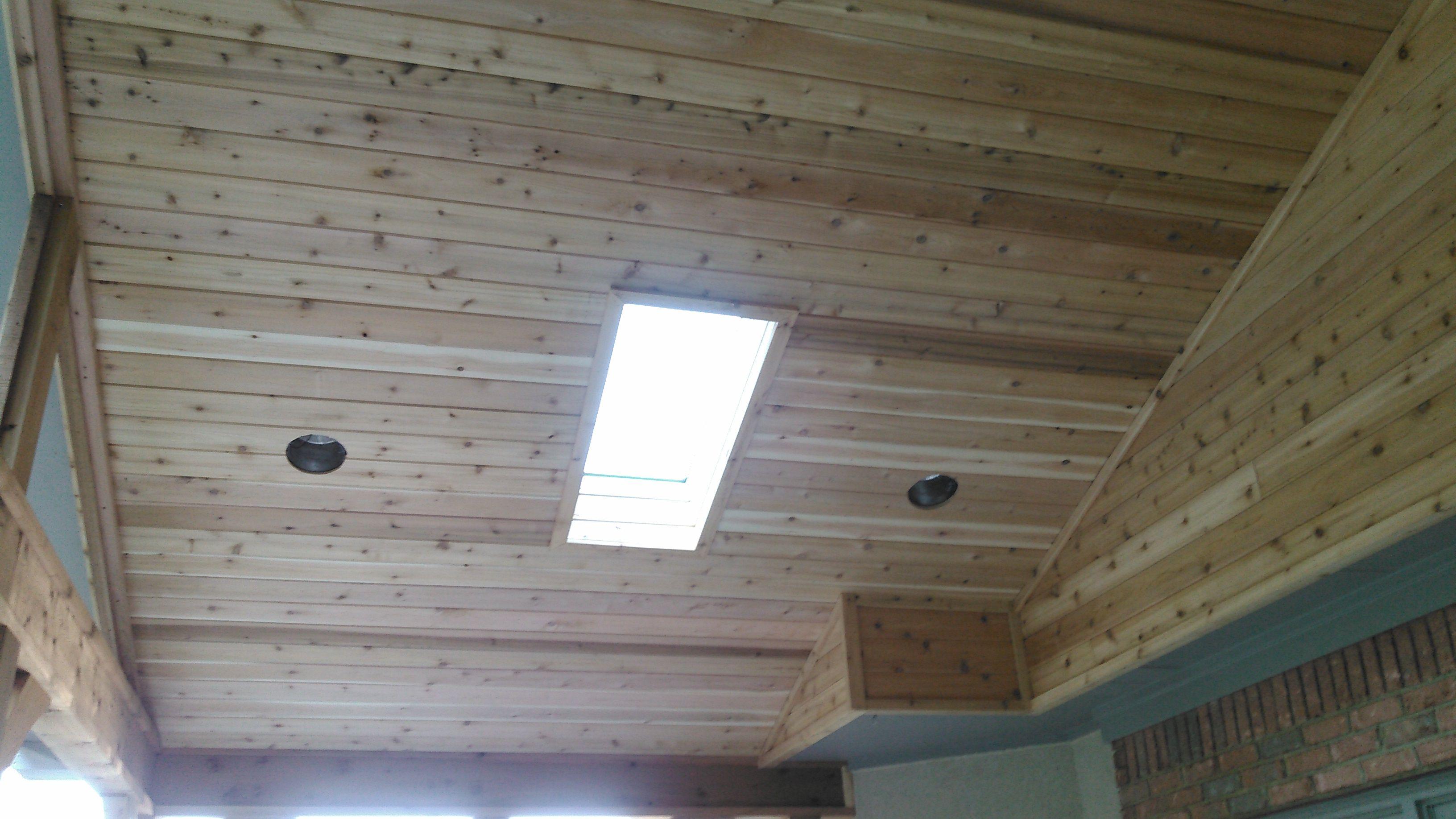 Cedar Ceiling With Skylight Design Ideas Archadeck House With Porch Patio Lighting Skylight Design