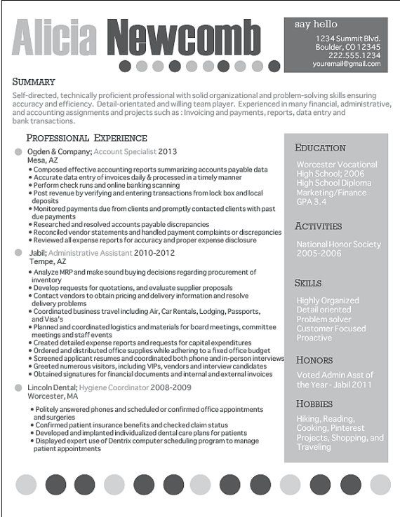 Professional Grayscale Resume Design Career Pinterest - example of interoffice memo
