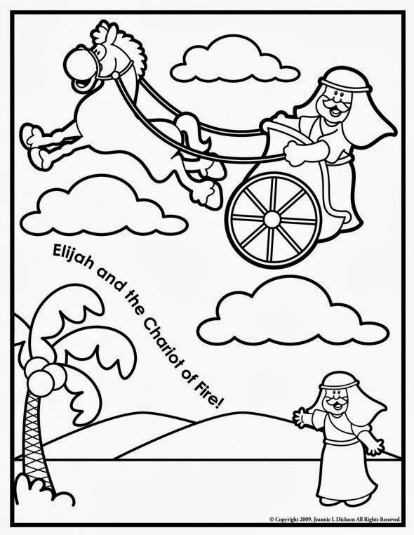 Elijah And The Chariot Of Fire Coloring Page Sunday School Coloring Pages Bible Crafts Bible Crafts For Kids