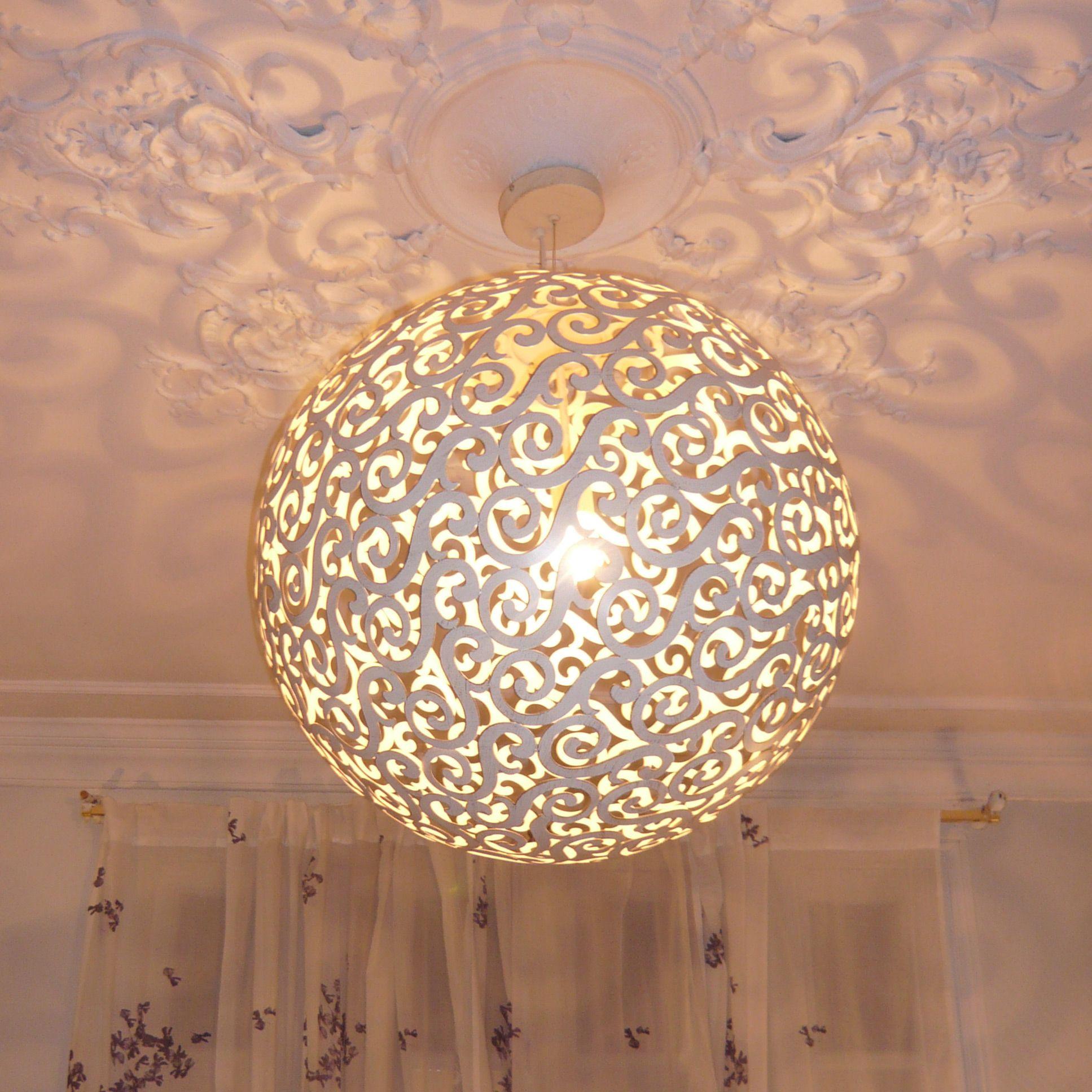 Suspension sph re en m tal diam tre 60 cm fez de lucide - Luminaire pour chambre adulte ...