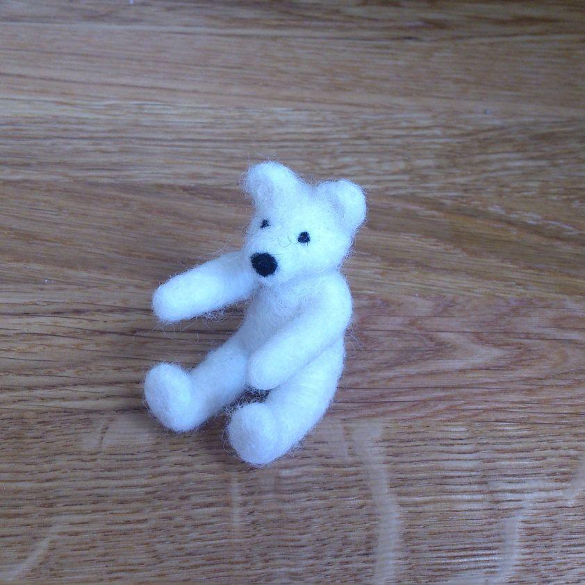 Teddy bear white miniature needle felted handmade love gift under 25 by FeltedByRikke on Etsy