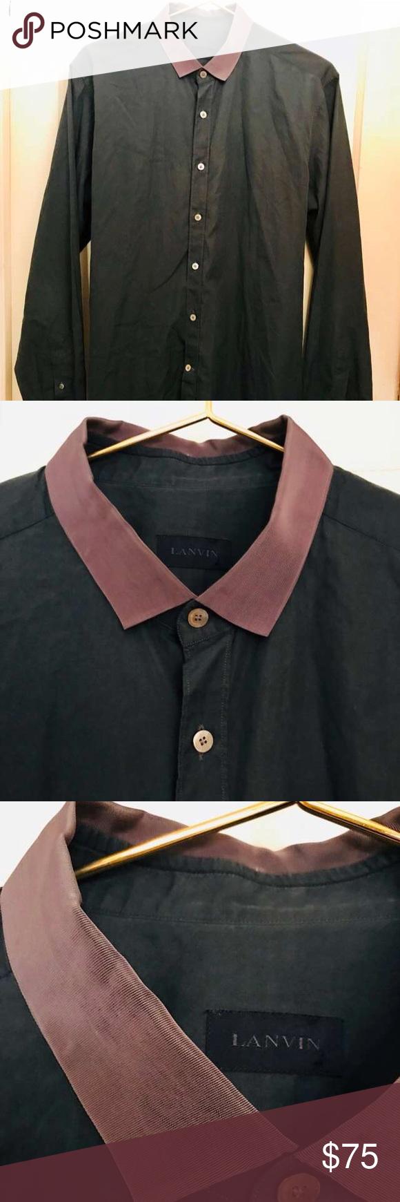 "Auth LANVIN gross grain collar cotton dress shirt Lanvin Dark green cotton poplin shirt, with warm grey ribbon collar. Clean w no stains pulls or damage. Orig $550 Shoulders 19"" , Chest 24"", Sleeve 26.5"", Length 33"" Lanvin Shirts Dress Shirts"