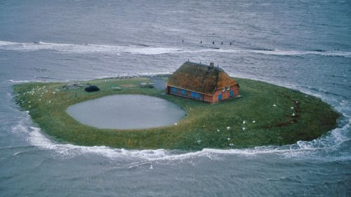 """shelterpub: """" Hallig Habel, a farm in northern Germany on the North Sea, an area of low flatlands and mudflats. This photo was taken during an extreme high tide. From Home Work: Handbuilt Shelter Photo by Hans Joachim Kürtz """""""