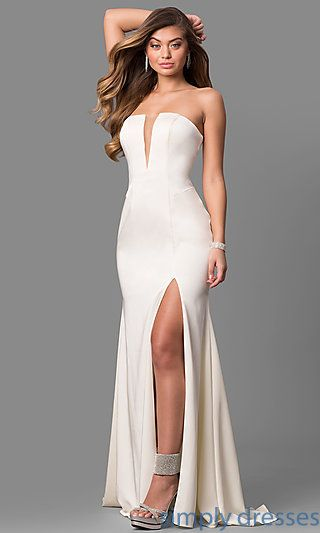549d1eb7be77 JO-JVN-JVN49580 - Long JVN by Jovani Strapless Prom Dress with V-Neck