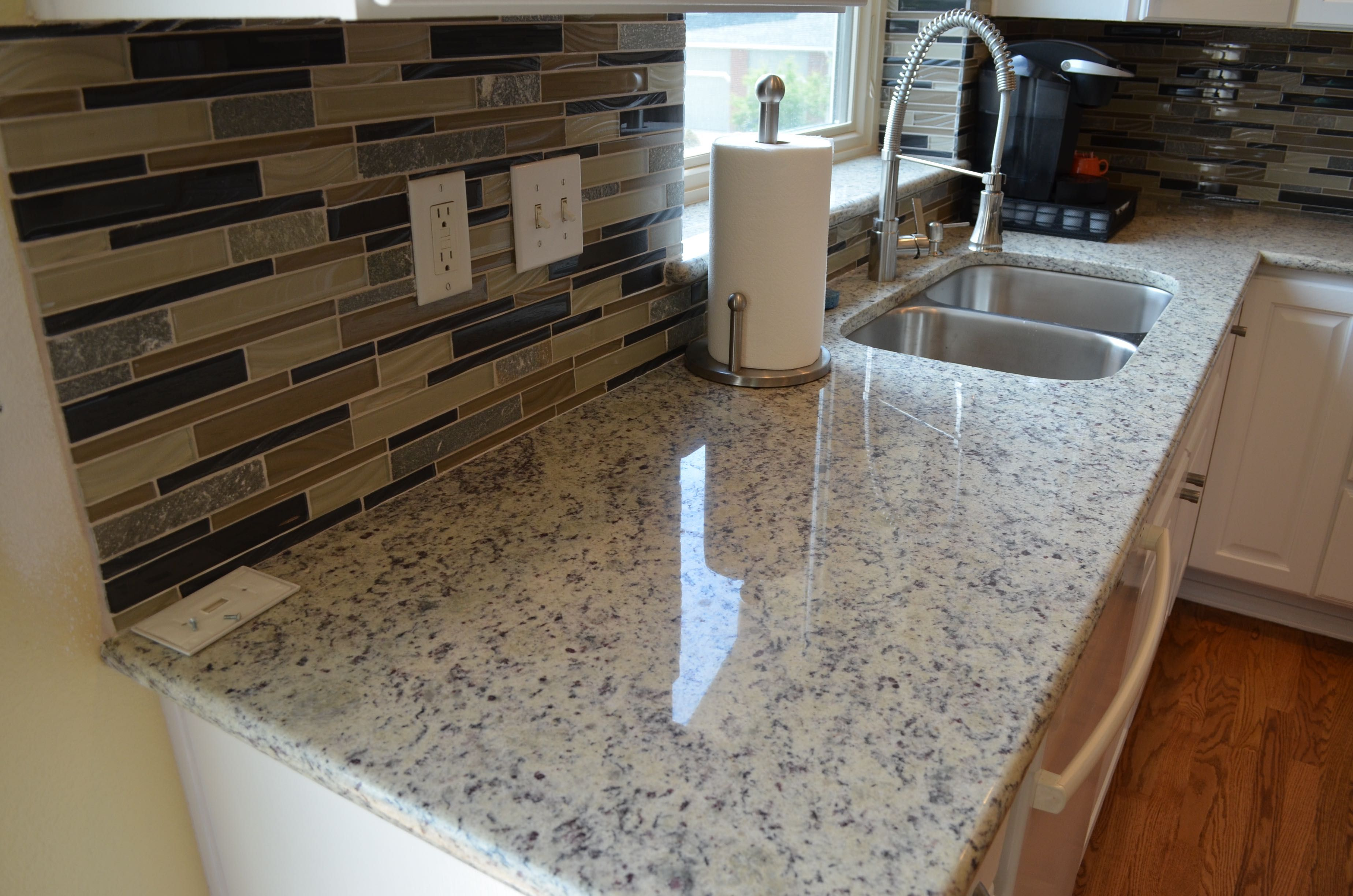 White Cabinets With Right Moon White Granite Bottom White Ornamental Granite Ornamental White Granite White Granite Countertops Kitchen Remodel Small