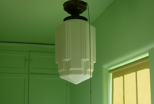 Large Vintage Art Deco Milk Glass Skyscraper Chandelier Industrial Light Pendant | eBay