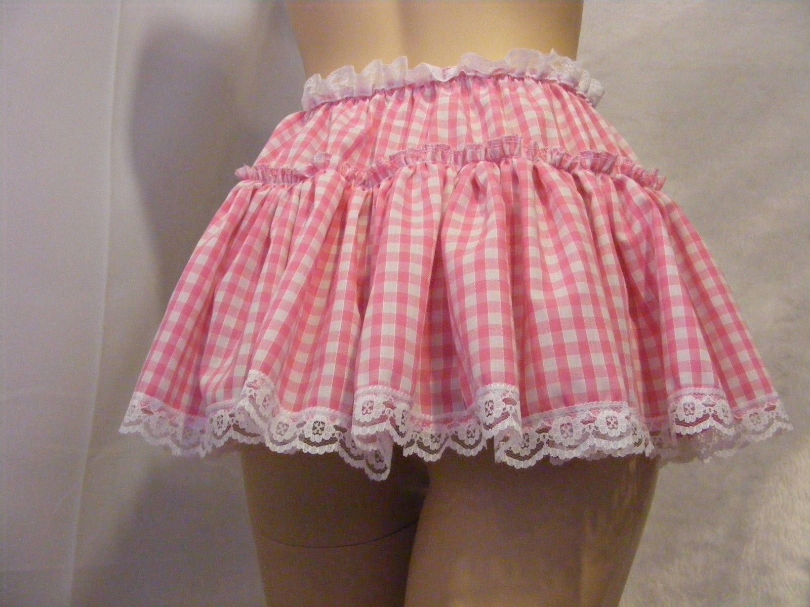 """SISSY ADULT BABY FANCYDRESS PINK GINGHAM MICRO MINI SKIRT 11/""""LONG ALL SIZES"""