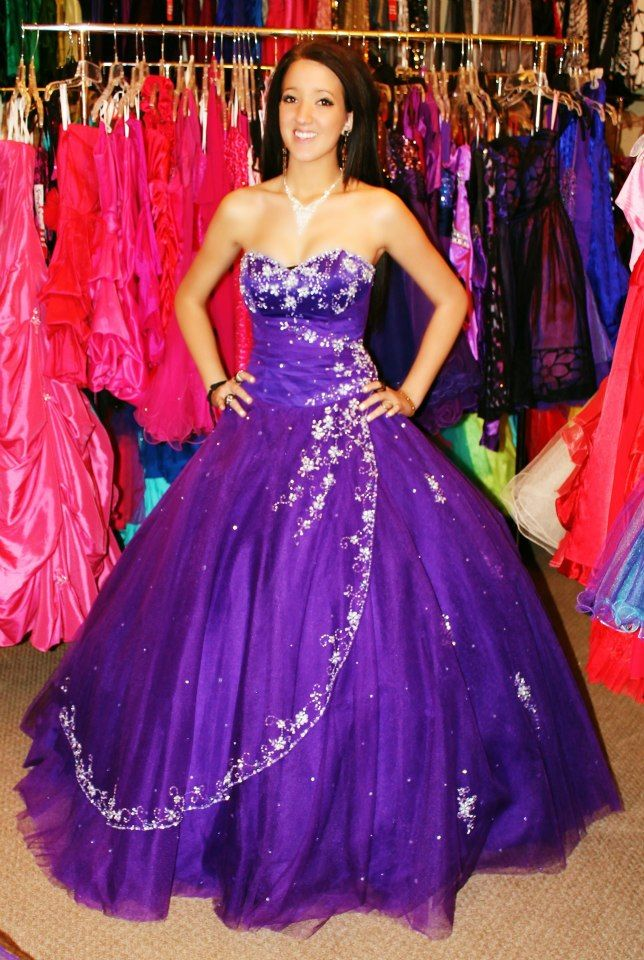 Purple long formal prom dress! Available for rent at Dazzling ...