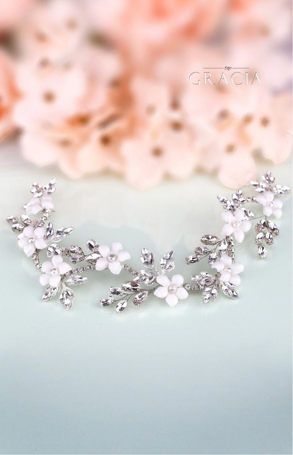 bridal hair accessories decorated with gleaming crystal