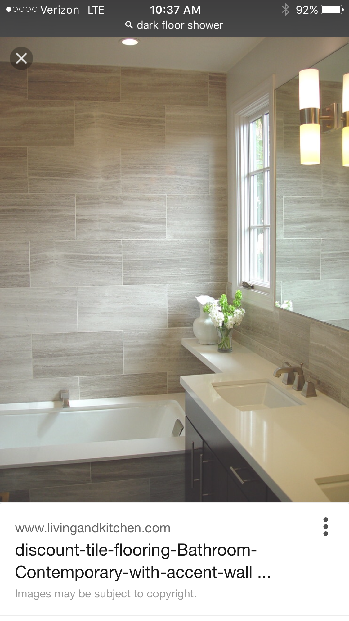 Horizontal 12x24 tile staggered over bath Like this design for
