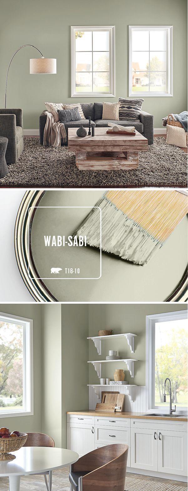 Verwenden Sie in jedem Raum Ihres Zuhauses einen frischen Anstrich mit BEHR-Farbe in Wabi-Sabi. Wenn pai #paintinglivingrooms