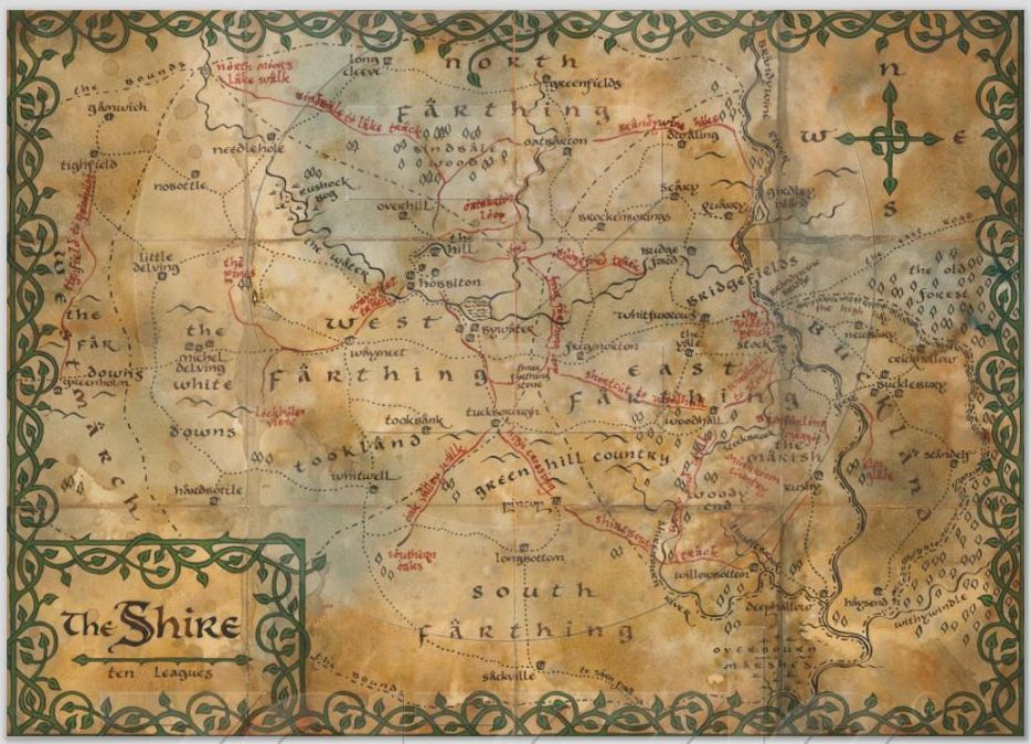 Heres something fun for Tolkien fans a map of The Shire  Cool
