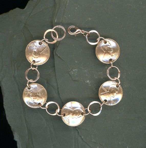 1957 Penny Bracelet Jewelry 61st Birthday Gift For Women Handmade Copper Coin Chain Link Gif