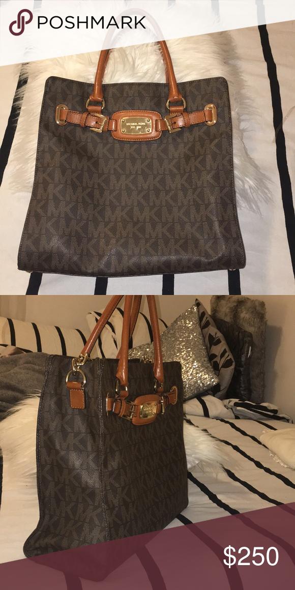 c23e41e4cf90 Michael Kors Hamilton Bag A large Michael Kors Hamilton bag with strap. Brown  with tan MK monogram Michael Kors Bags Crossbody Bags
