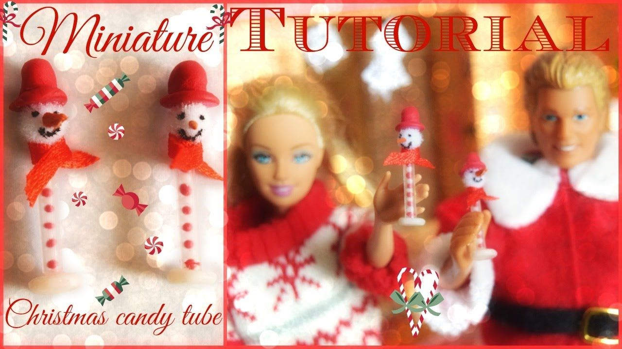 Tutorial : how to make a miniature Christmas candy tube for dolls 🍭🎅🍬