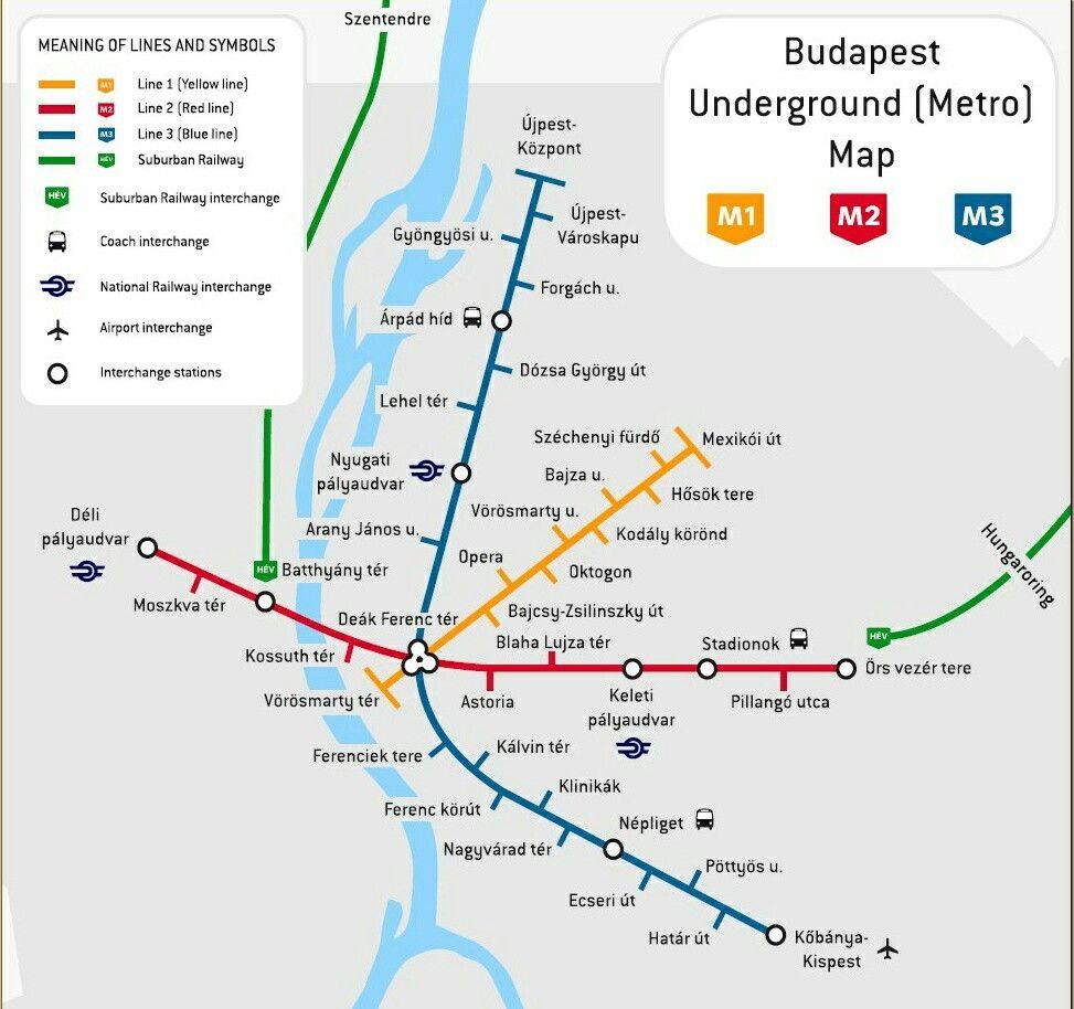 Budapest Hungary Metro Map Lines Metro Map Budapest Transit Map
