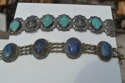 Egyptian Revival  and Lapis Bracelets