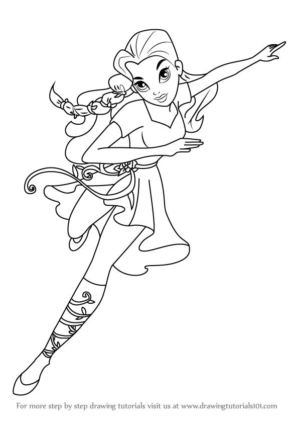 poison ivy coloring pages - how to draw poison ivy from dc super hero girls step