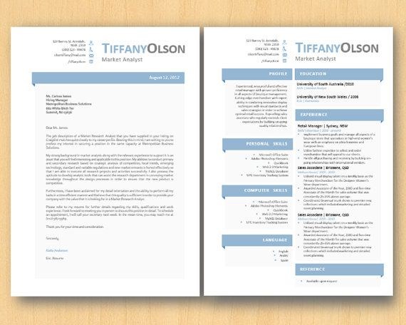 ice blue grey block elegant microsoft word resume 1  u0026 by inkpower   15 00