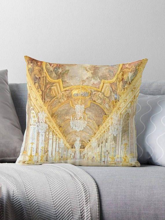 #HallofMirrors #FrenchChic #FrenchHomeDecor Paris Versailles Elegant Pillow Cover Gold Decorative Pillow