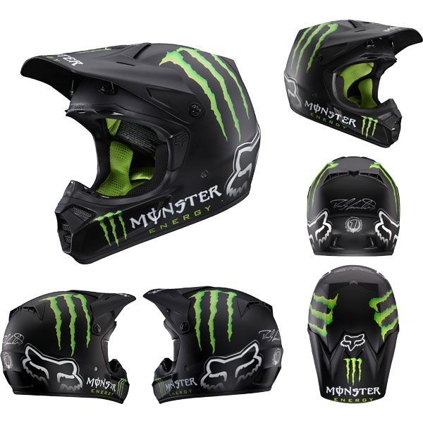 Fox Racing V3 Ricky Carmichael Rc Monster Replica Matte Off Road Mx Helmets Closeout Extreme Supply Dirt Bike Helmets Bike Helmet Helmet