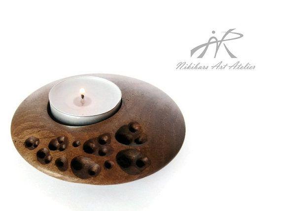 Zen decor abstract wooden candle holder hand by NikibarsNatureArt