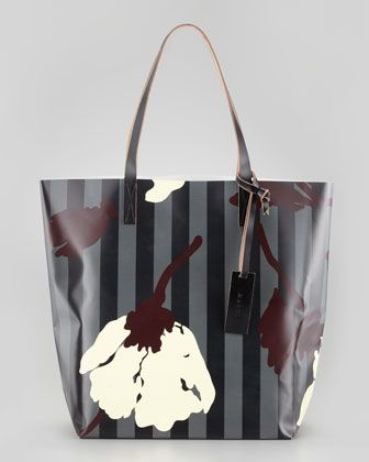 Fl Print Striped Pvc Ping Bag By Marni At Neiman Marcus